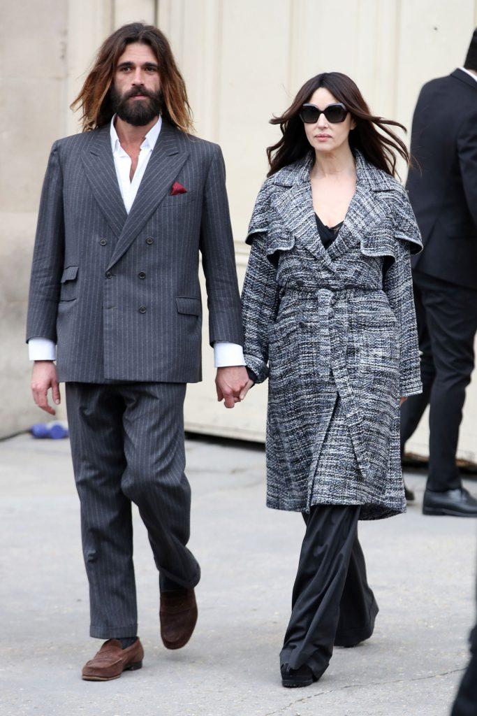 monica bellucci and nicolas lefebvre at paris fashion week